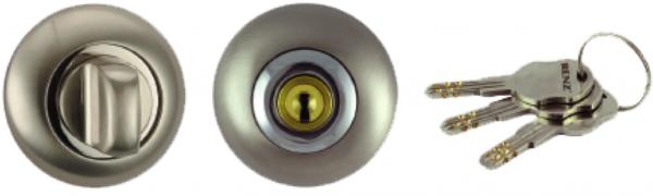 Фиксатор сантехнический + цилиндр BK-K 08 SN/NP никель мат. / никель блест.