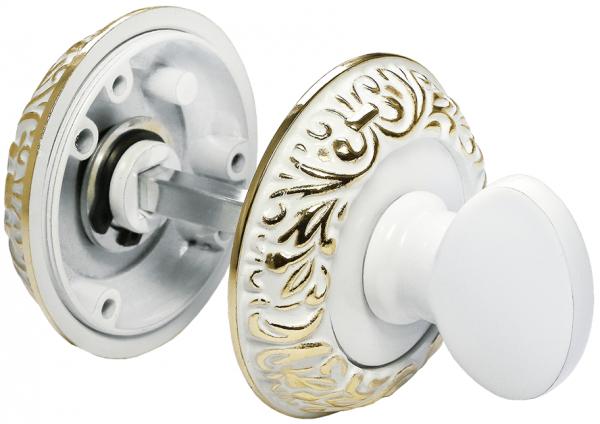 Завертка сантехническая круглая Morelli MH-WC-CLP W/PG белая эмаль / золото