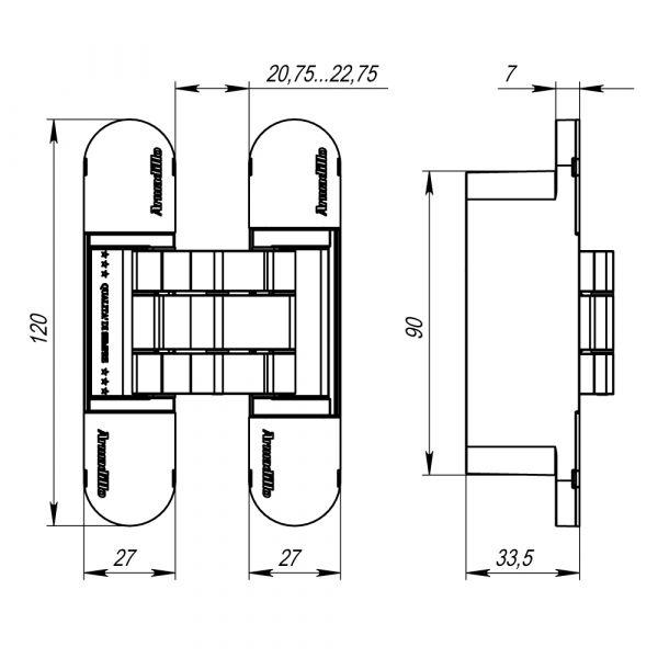12060UN3D SC петля скрытой Armadillo установки с 3D-регулировкой, матовый хром