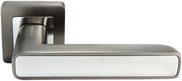 Ручка дверная на квадратном основании MORELLI DIY MH-44 GR/CP-S55 матовый графит / полированный хром