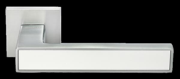 Ручка дверная на квадратном основании MORELLI DIY MH-48-S6 SC/W  матовый хром / белый