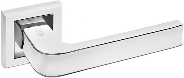 Дверная ручка на квадратной розетке PALIDORE A-253 WPC белый никель/хром