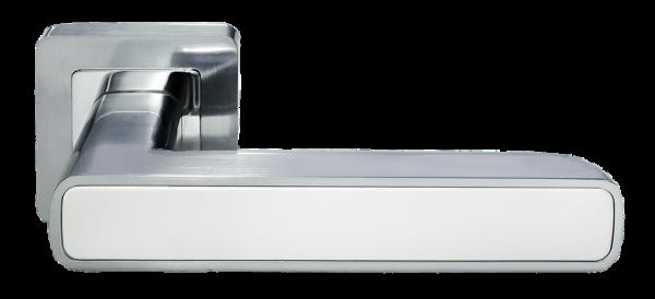 Ручка дверная на квадратном основании MORELLI DIY MH-44 SC/W-S55 матовый хром / белый