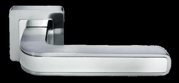 Ручка дверная на квадратном основании MORELLI DIY MH-46 SC/CP-S55 матовый хром / полированный хром