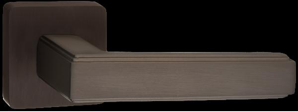 """Дверная ручка RENZ на квадратной розетке """"АРОНА"""" DH 96-03 MBN матовый черный никель"""