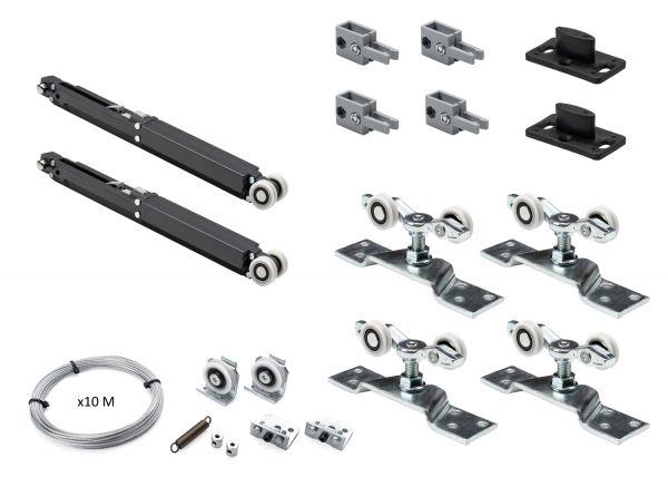 K.Sistem SET-50 Synchro+2 Soft раздвижная система синхронного открывания 2х дверей до 50 кг + 2 доводчика + профиль 3м