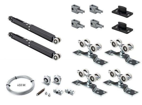 K.Sistem SET-80 Synchro+2 Soft раздвижная система синхронного открывания 2х дверей до 80 кг + 2 доводчика + профиль 3м