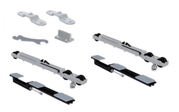 SF-Roller 80kg. Комплект фурнитуры SAHECO с планками-скобами и двумя доводчиками (098083)