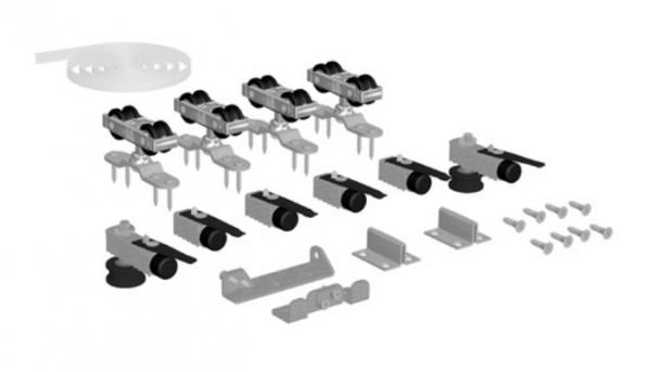 SF-SYNCRO Комплект фурнитуры SAHECO на 2 синхронные раздвижные двери 60-80 кг. для деревянных дверей (010112)