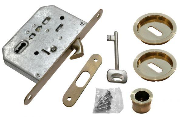 Комплект с замком Morelli MHS-1 L для раздвижных дверей AB античная бронза