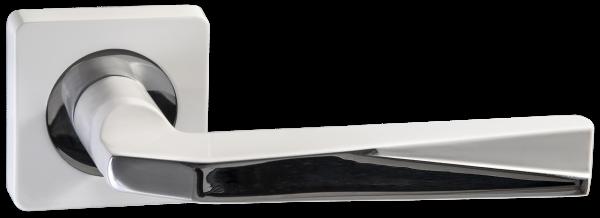 """Дверная ручка RENZ """"Валерио"""" DH 54-02 MSW/CP матовый супер белый/ хром блест"""